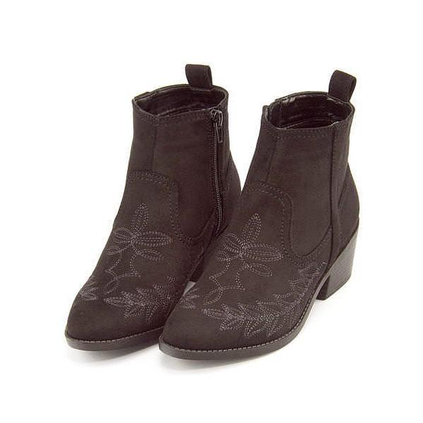 ウエスタンブーツ ショートブーツ ローヒール レディース 刺繍付き サイドジップ 美脚 メタルルージュ METAL ROUGE 3001 ブラックスエード