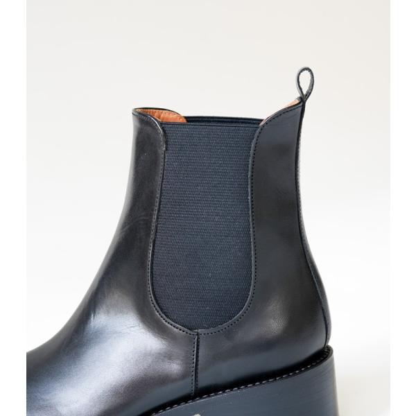 ショセ プリュスバイショセ サイドゴアブーツ ブラック ブラウン chausser plus by chausser PC-5028 BLK BRN