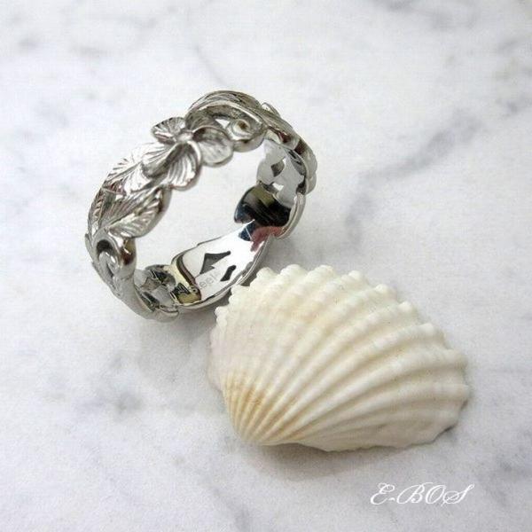 ハワイアンジュエリー リング 選べるカラー 透かし 指輪 K24 純金 イエロー K18 ピンク ホワイト カラー ゴールドコーティング Surgical Stainless316L ksf066