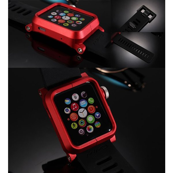 Apple Watch用 アルミフレーム シリコンバンド  ベルト メタル 38mm/42mm 時計バンド ケース カバー 【並行輸入品】 APW-SRBAND|shop-always|02
