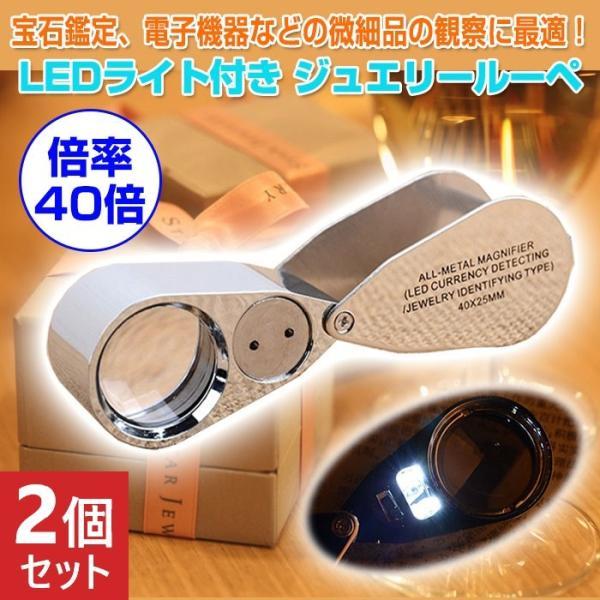 2個セット ルーペ ジュエリー 宝石 LEDライト 拡大鏡 ライト コンパクト 鑑定 電子機器 微細品 観察 軽量 持ち運び 倍率40倍 花 昆虫 部品 片手操作