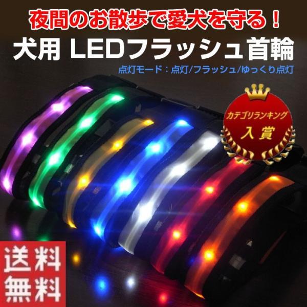 犬用 LED首輪 安全ライト LEDライト 軽量 首に負担が無い 7色 光る首輪 夜のお散歩 電池式 ゆうパケットで送料無料 ◇ALW-AMP-930|shop-always