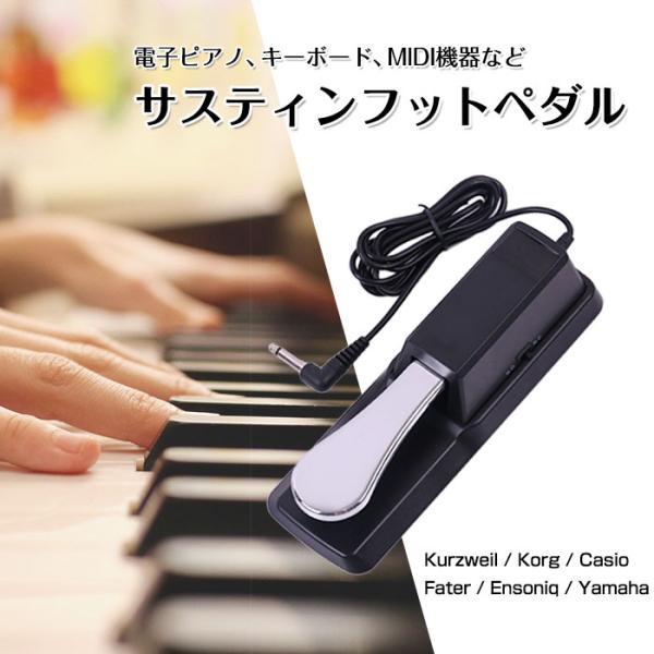 ピアノペダル ダンパーペダル ヤマハ カシオ などの 電子キーボード 電子ピアノ MIDI機器に サスティンフットペダル 極性切替スイッチ