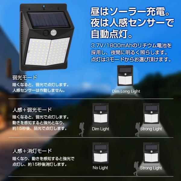 90LED ソーラーライト 人感センサー 防水 太陽光充電 コンパクト shop-always 02