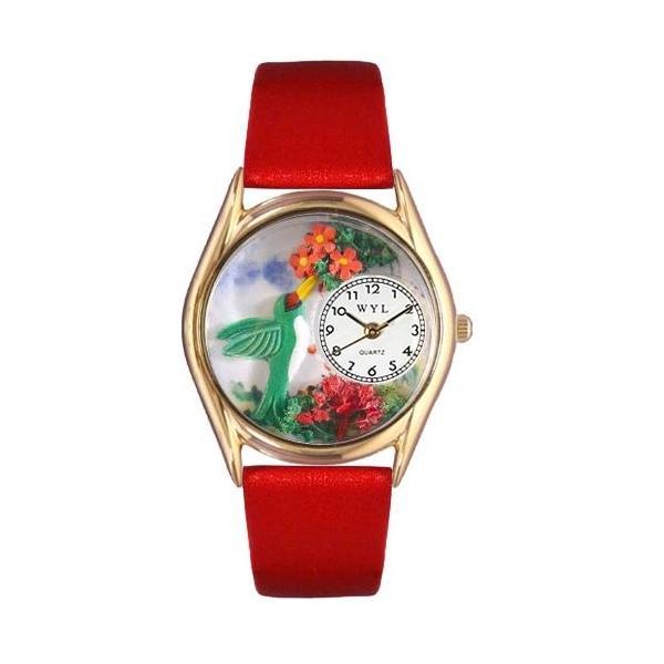 当店1年保証 気まぐれな腕時計Whimsical Watches Women's C1210003 Classic Gold Hummingbirds Red Leather And Goldtone W