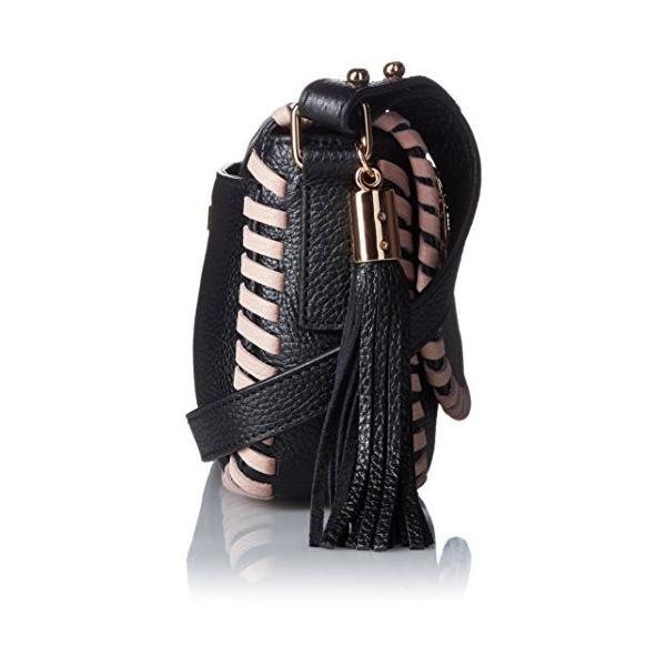 ミリーMILLY Astor Contrast Whipstitch Small Saddle, Black/Nude