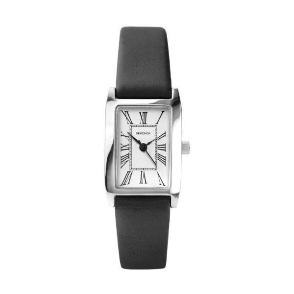 当店1年保証 セコンダSekonda Analogue Roman Numerals White Dial Black Leather Strap Ladies Watch 4025|shop-angelica