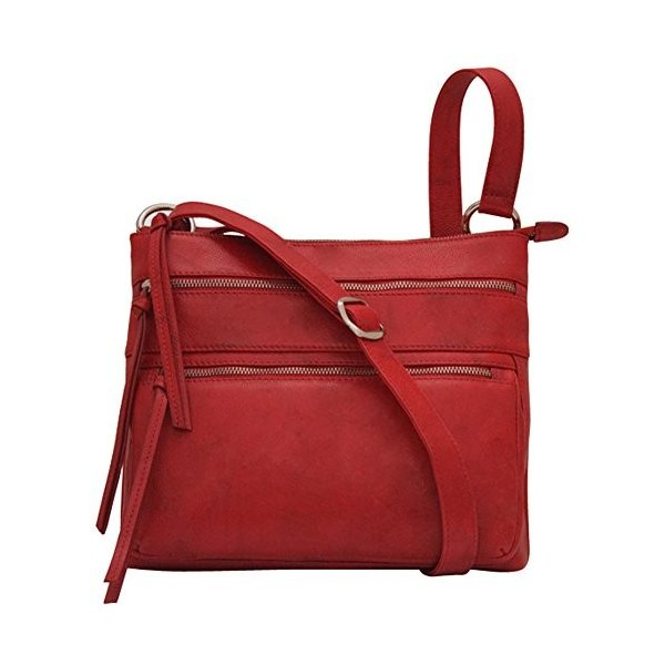 ILIili 6300 Leather Zip Crossbody Handbag (Red)