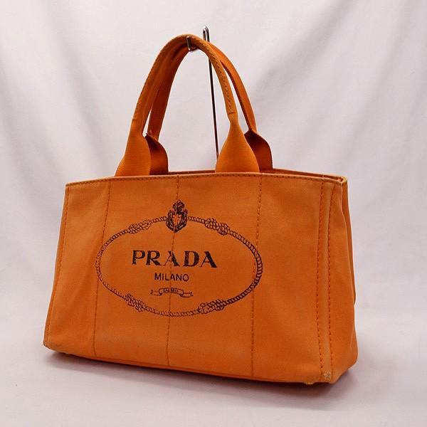 sale retailer 4ac39 0cc1c PRADA / プラダ ■カナパ オレンジ キャンバス トートバッグ ブランド【中古】