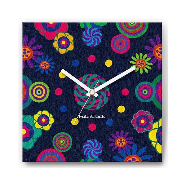 壁掛け時計 グルグルフラワー ファブリクロック ファブリック ウォールクロック 掛時計 壁時計 かけ時計 スイープ とけい 花|shop-askm
