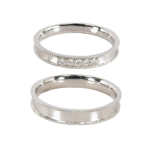 結婚指輪 安い ペアリング マリッジリング ペアセット ダイヤモンド5石(0.07ct) ミルグレイン(ミル打ち仕上げ) K10ホワイトゴールド K10WG 2本セット