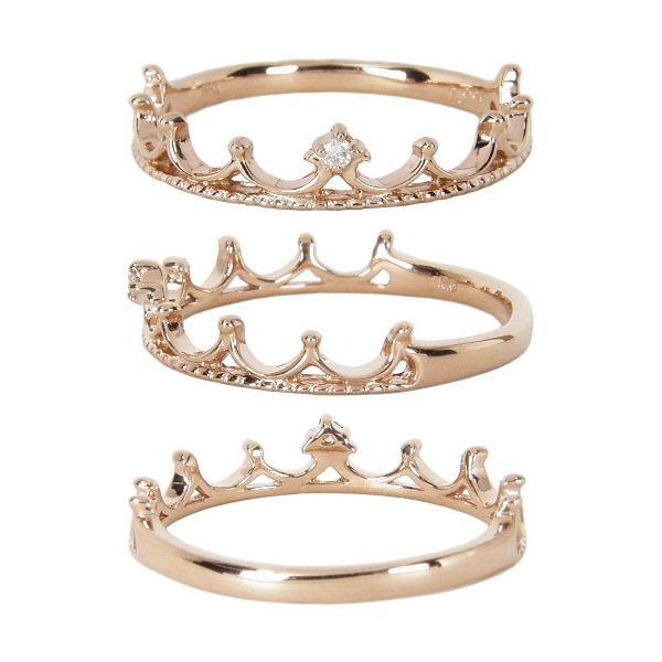 ピンキーリング 指輪 ティアラ 王冠 クラウン  K10ピンクゴールド K10PG  ダイヤモンド ピンキーリング 0号 1号 2号 3号 4号 5号 6号 7号