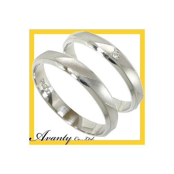 結婚指輪 安い プラチナ マリッジリング ペアリング ペアセット プラチナ900 Pt900 ダイヤモンド1石0.006ct 2本セット