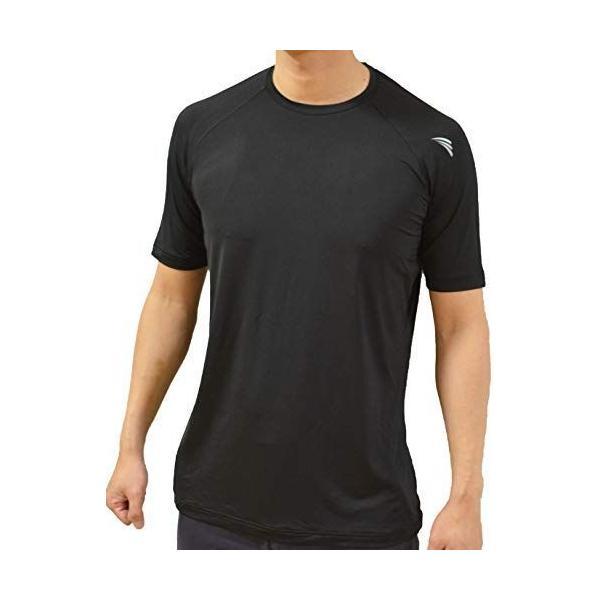 クロスイズム 丸首長袖トレーニングウェアランニングウェアアンダーシャツ速乾吸汗メンズ(LL,丸首半袖ブラック)
