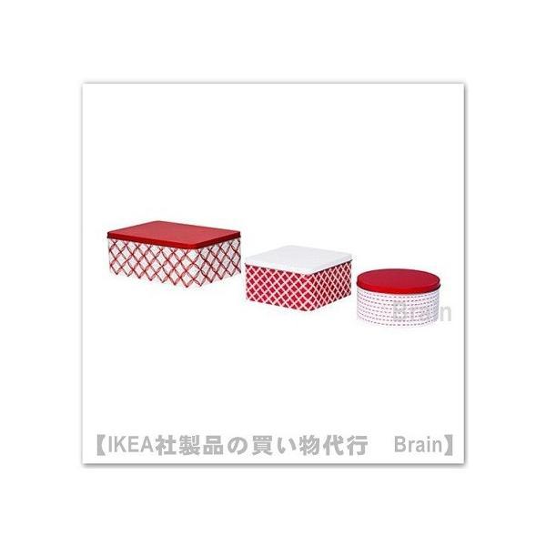 IKEA/イケア VINTERFEST 缶 ふた付き 3個セット ホワイト/レッド