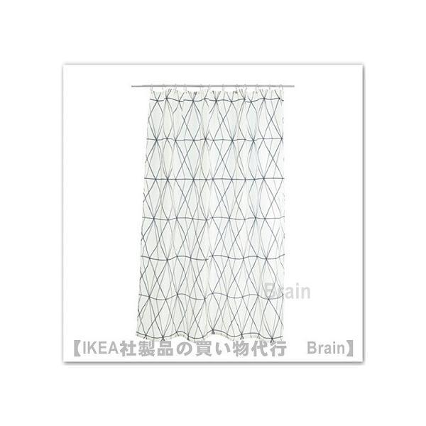 IKEA/イケア FOLJAREN シャワーカーテン ホワイト/ブラック/グレー