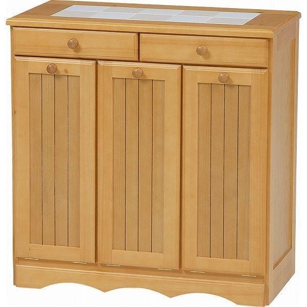 ダストボックス 木製おしゃれゴミ箱 3分別 15Lペール3個/キャスター付き ナチュラル 〔完成品〕〔代引不可〕