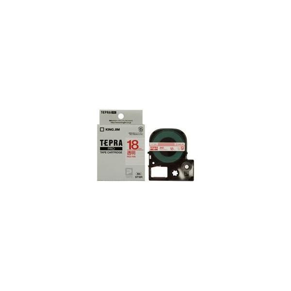 (業務用3セット) キングジム テプラPROテープ/ラベルライター用テープ 〔幅:18mm〕 ST18R 透明に赤文字