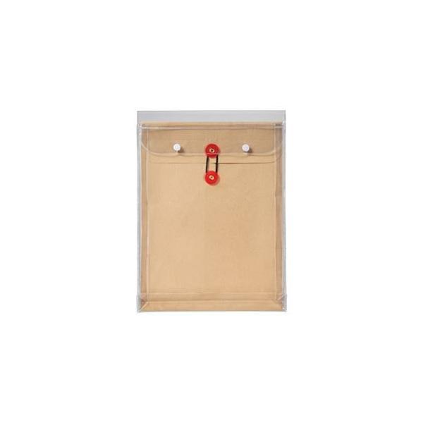 (まとめ) ピース マチヒモ付ビニール保存袋 レザック 角2 184g/m2 茶 912 1枚 〔×15セット〕