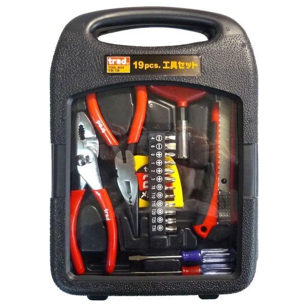 (まとめ)TRAD 工具セット/作業工具 〔19個入〕 TS-19 〔業務用/家庭用/DIY/日曜大工〕〔×20セット〕