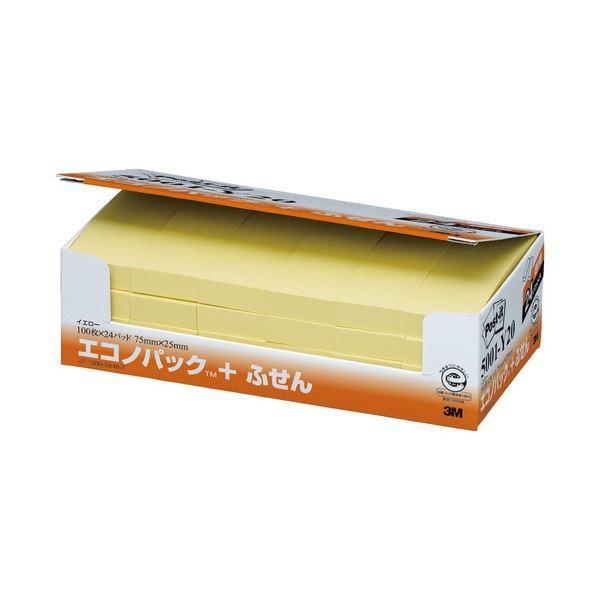(まとめ) 3M ポストイット エコノパック ふせん 再生紙 75×25mm イエロー 5001-Y20 1パック(24冊) 〔×5セット〕