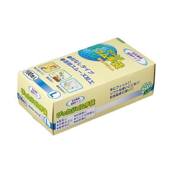 (まとめ)オカモト ぴったりゴム手袋(粉なし)Lサイズ NO310-L 1箱(100枚) 〔×3セット〕