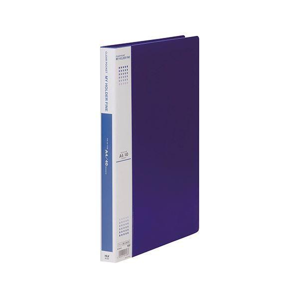 (まとめ) テージー マイホルダーファイン A4タテ型 40ポケット 青 〔×5セット〕