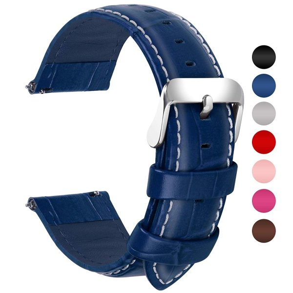 時計ベルト 22mm、Fullmosa全7色腕時計バンド、スマートウォッチ バンド ベルト 交換バンド ベルト 本革 レザー、22mm 紺青