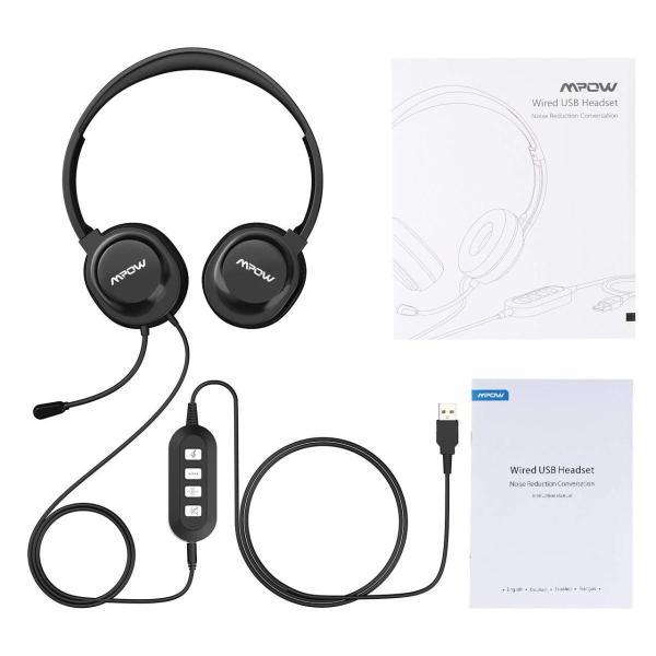 Mpow USBヘッドセット/マイク付き3.5?MMコンピュータヘッドセットノイズキャンセリング、軽量PCヘッドセット有線ヘッドフォン、ビジ