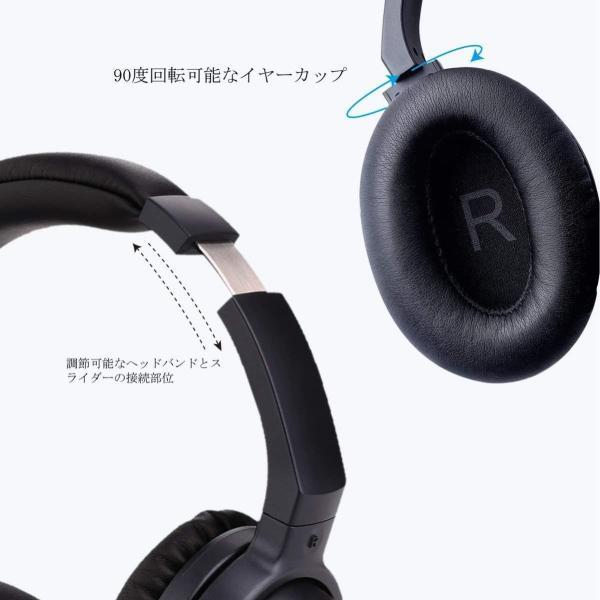 LiteXim ワイヤレスヘッドホン ノイズキャンセリング Bluetooh ヘッドセット オーバーイヤー マイク内蔵 回転式 ステレオ ヘ