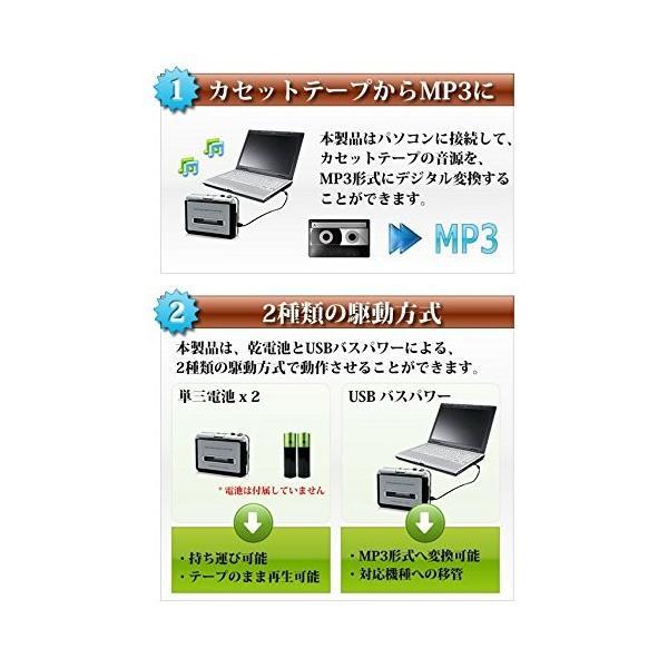 カセットプレーヤー カセットテープコンバーター カセットテープをMP3に変換するプレーヤー カセットコンバーター KSTC001