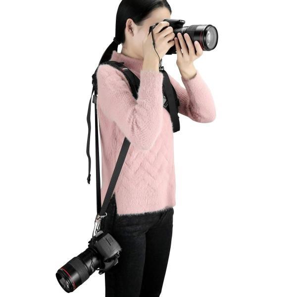 AMERTEER カメラ用ストラップ ショルダー カメラショルダーストラップ らくらく持ち運び プロ仕様 1台使用もOK 便利 滑り止め付き