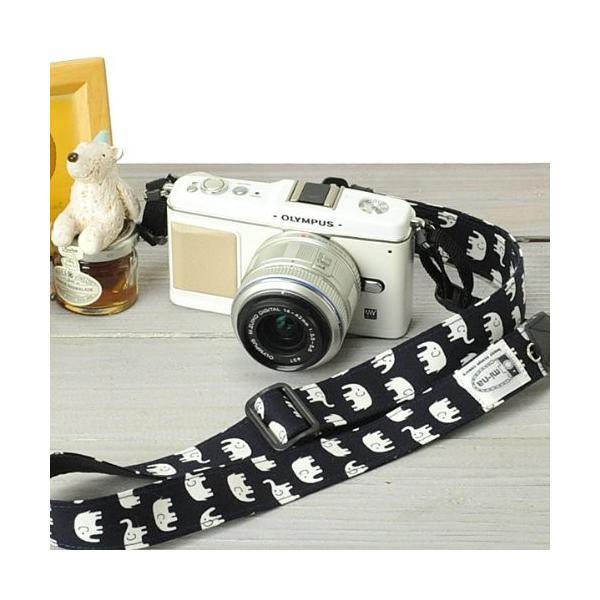 ミーナ 一眼レフ用 ミラーレス一眼用 カメラストラップ 調節タイプ 幅2.5cm ハッピーエレファントネイビー