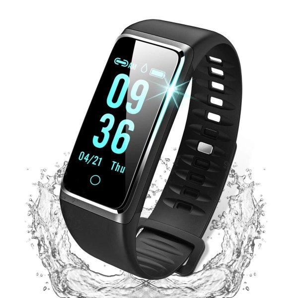 スマートウォッチ 最新 カラースクリーン 心拍計 IP67防水 USB充電 血圧計 歩数計 活動量計 スマートブレスレット Line/Fac