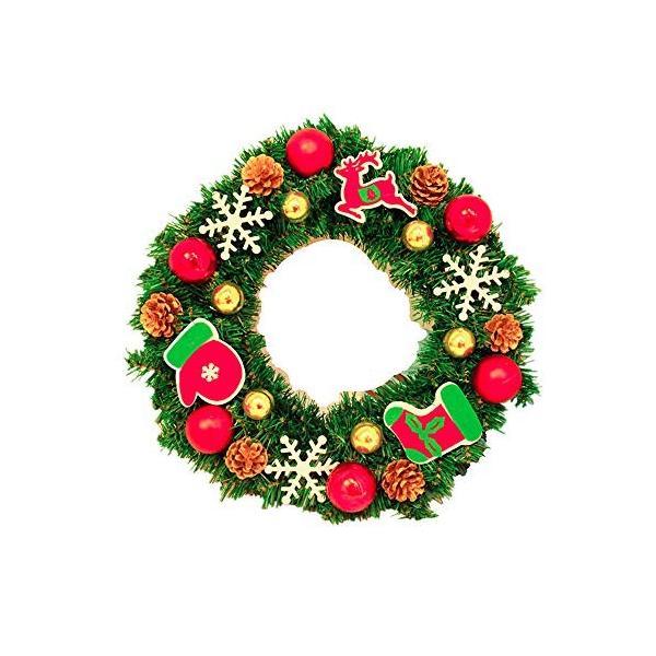 ANION40cm クリスマスリース 電池式 電飾 付き 花 リボン 飾り オーナメント クリスマス 素材 北欧 ドア 玄関 冬 イベント|shop-frontier