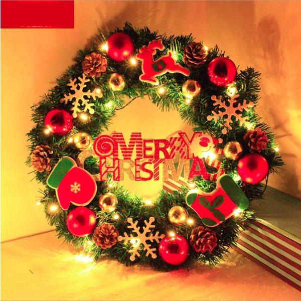 ANION40cm クリスマスリース 電池式 電飾 付き 花 リボン 飾り オーナメント クリスマス 素材 北欧 ドア 玄関 冬 イベント|shop-frontier|02