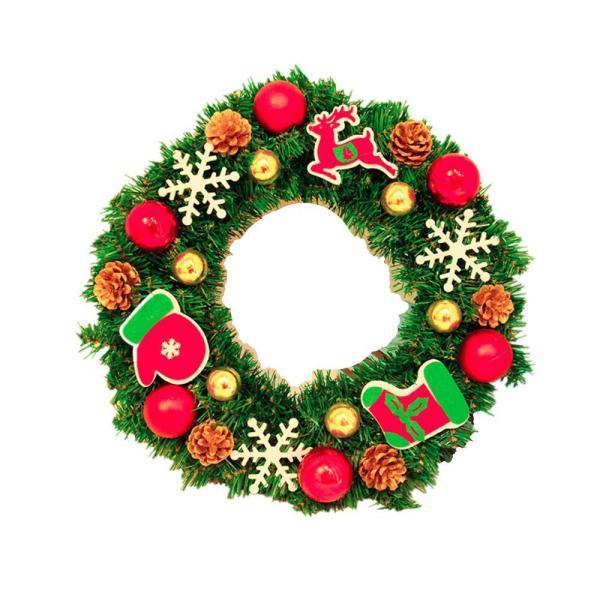 ANION40cm クリスマスリース 電池式 電飾 付き 花 リボン 飾り オーナメント クリスマス 素材 北欧 ドア 玄関 冬 イベント|shop-frontier|03