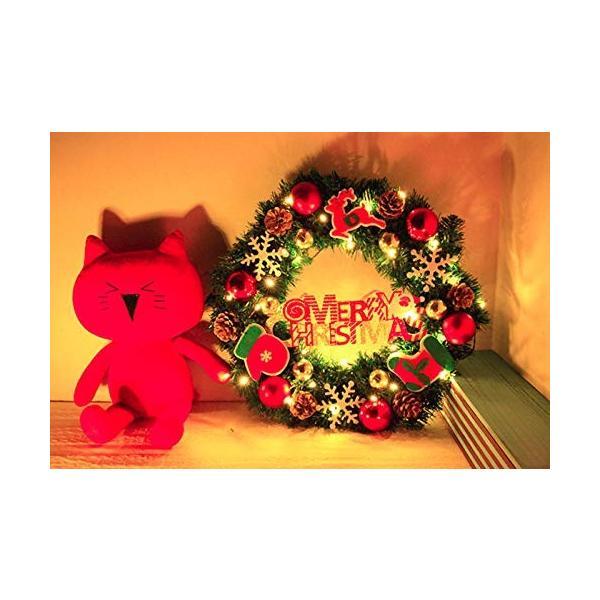 ANION40cm クリスマスリース 電池式 電飾 付き 花 リボン 飾り オーナメント クリスマス 素材 北欧 ドア 玄関 冬 イベント|shop-frontier|05