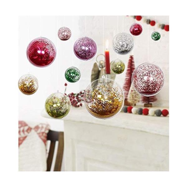 GWHOLE クリスマス飾り ボール 透明中空ボール オーナメントボール カプセル クリア球体 小物収納 パーティー クリスマス 部屋 喫茶|shop-frontier