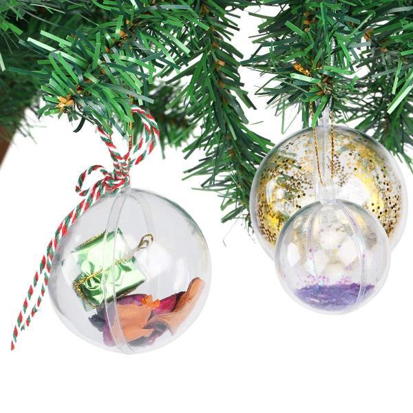 GWHOLE クリスマス飾り ボール 透明中空ボール オーナメントボール カプセル クリア球体 小物収納 パーティー クリスマス 部屋 喫茶|shop-frontier|06