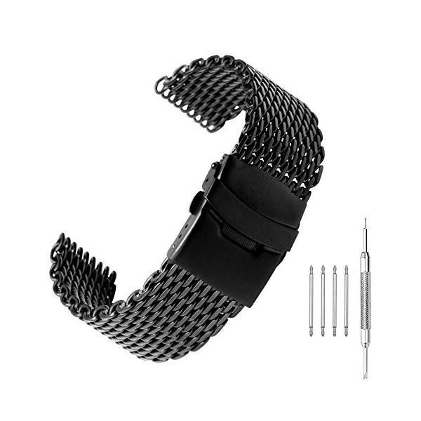 シャークメッシュ ブラック ベルト 18mm 時計バンド ステンレス 腕時計バンド 時計 レディース 交換ベルト プッシュ D バックル 時