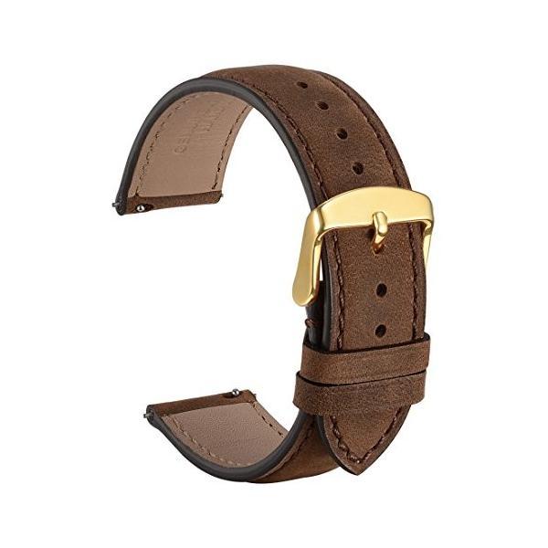 WOCCI 革時計ベルト 20mm Quick Release腕時計バンド スエード ヴィンテージ (ダークブラウン/同色系ステッチ)
