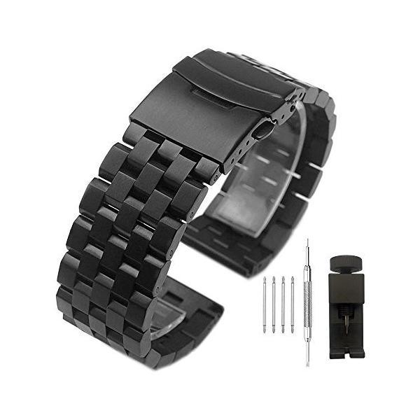 22mm 時計ベルト ブラック 腕時計バンド 交換ベルト ステンレスバックル 時計 メンズレディース 時計バンド