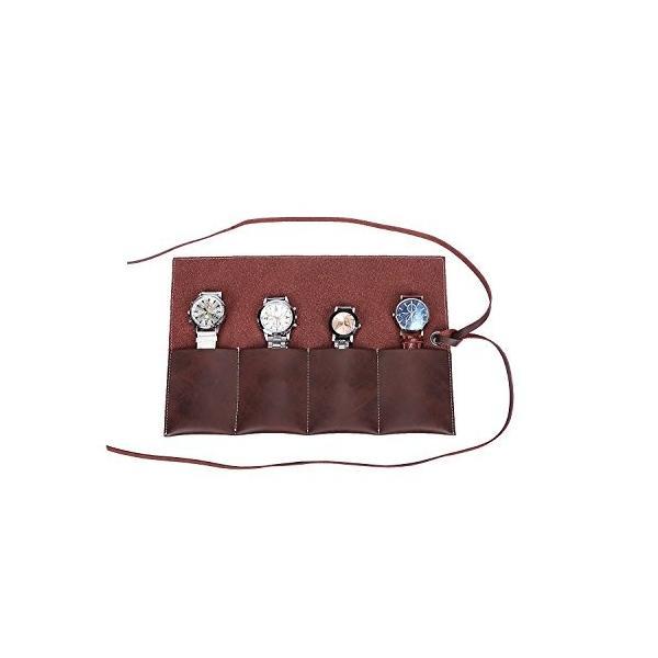 QEES 腕時計収納ケース コレクション袋 メガネ収納 レザー 便利 4本用 防水 持ち運びしやすい