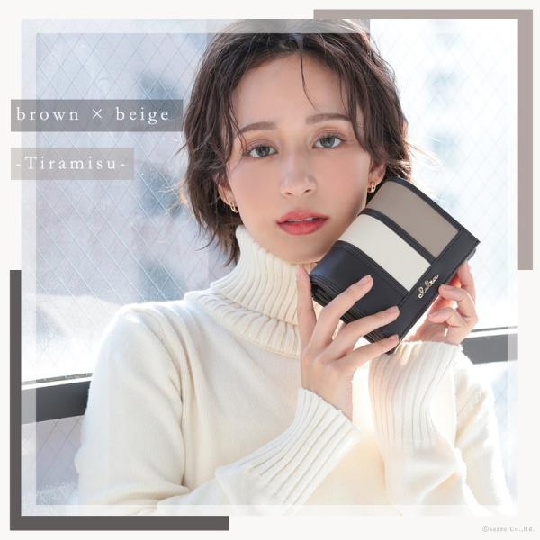 財布 レディース 折り財布 大容量 ストライプ フラップ 大きめ 二つ折り財布 Clelia CL-10237|shop-kazzu|04