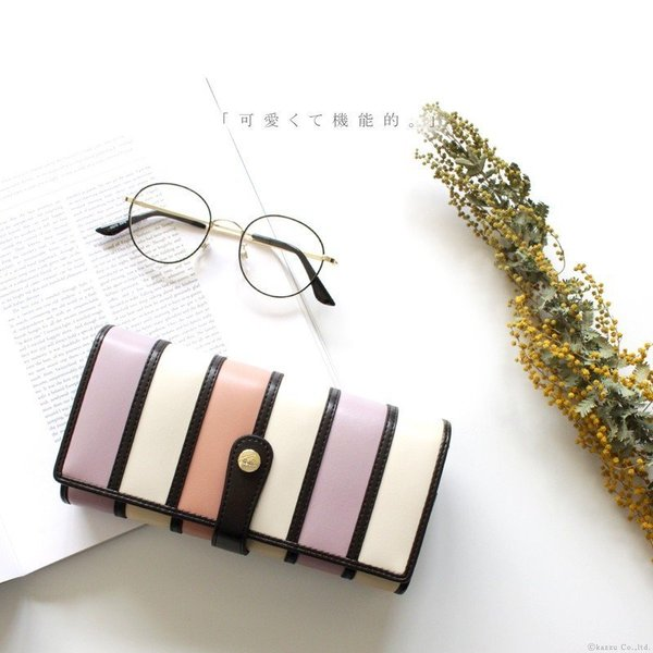 財布 レディース 長財布 二つ折り 大容量 アコーディオン ストライプ 札入れ Clelia CL-10262|shop-kazzu|02