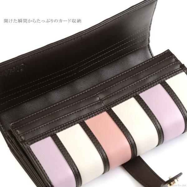 財布 レディース 長財布 二つ折り 大容量 アコーディオン ストライプ 札入れ Clelia CL-10262|shop-kazzu|14