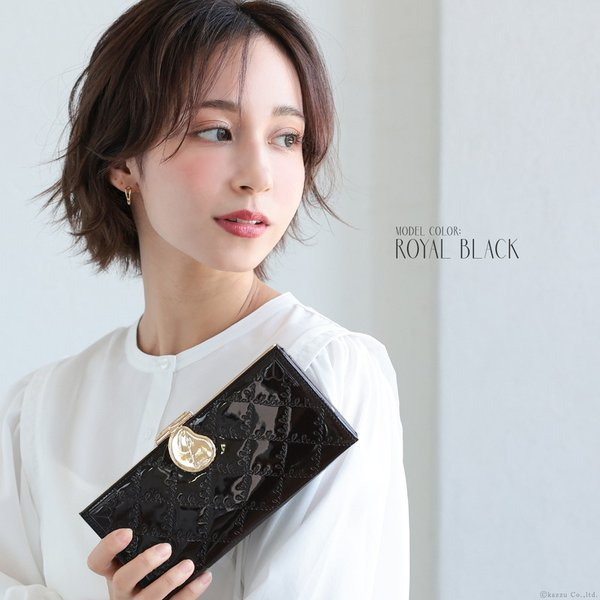 財布 長財布 レディース ブランド 大容量 がま口 エナメル フラップ かぶせ ロングウォレット Clelia CL-15610|shop-kazzu|04