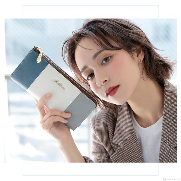財布 長財布 レディース L字ファスナー 薄マチ 大容量 トリコロール ロングウォレット Clelia CL-17010|shop-kazzu|09