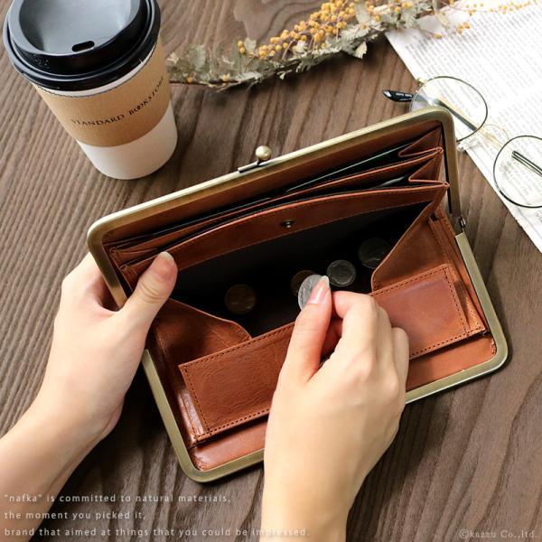 財布 長財布 レディース がま口 本革 薄い ギャルソンウォレット 日本製 がま口財布 nafka NFK-72001|shop-kazzu|05